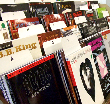 In-store display of sheet music books