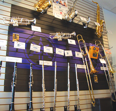 Rental band instruments on display in store