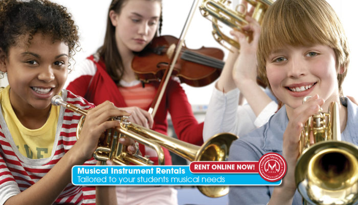Four diverse children playing separate instruments with a rent online now button in the foreground
