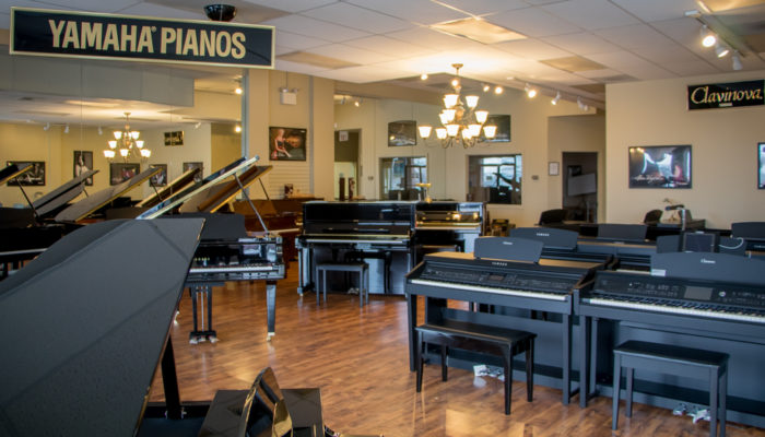 Yamaha Clavinova digital pianos and grand pianos.