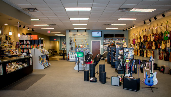 Wideview of our York location including many musical items on display.