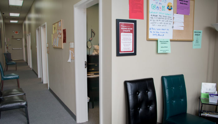 Music lesson studios and waiting area.