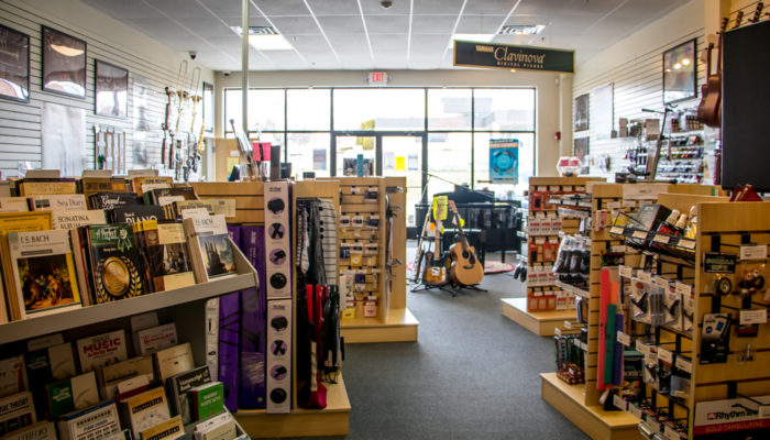 Inside of Menchey Music HArriburg, PA with music and accessories on display.