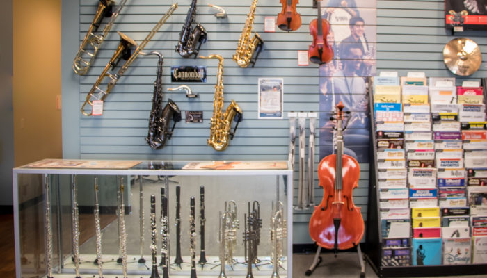 Display of intermediate and professional band and orchestra instruments.