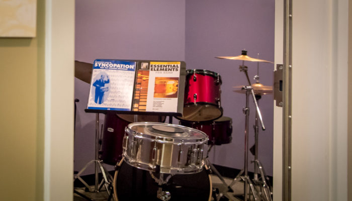 Drumset in lesson studio.
