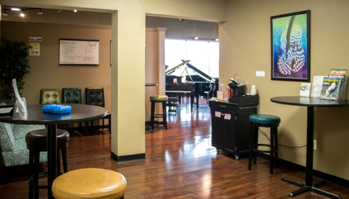 Wideview of lesson studio waiting room.