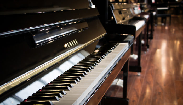 Closeup of Yamaha piano keyboard.