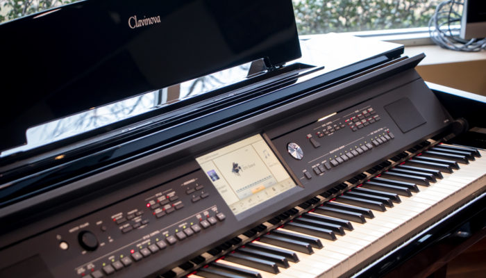 Closeup of Yamaha Clavinova digital piano.