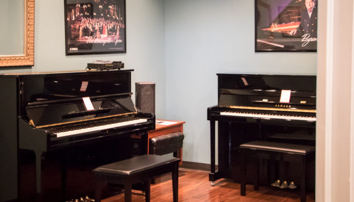 Used upright black pianos.