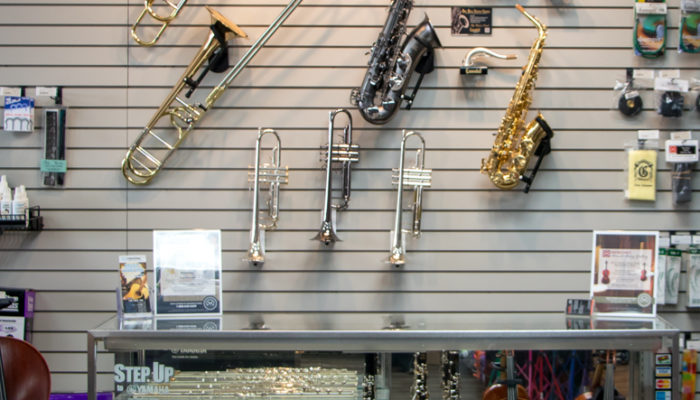 Display of intermediate band and orchestra instruments.