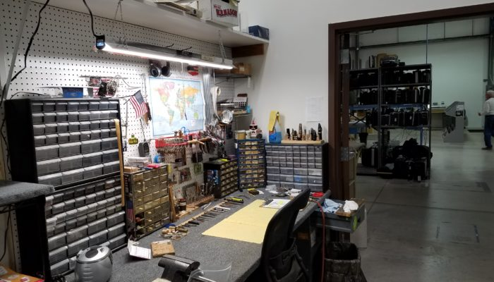 Typical workbench area in a band repair shop.