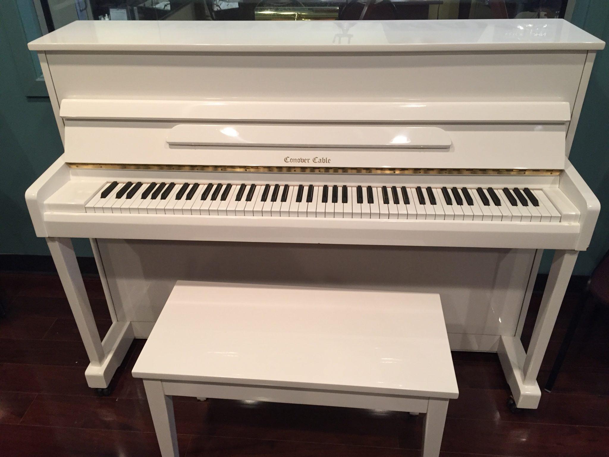 Conover Cable – Model CC12 white 44″ upright piano