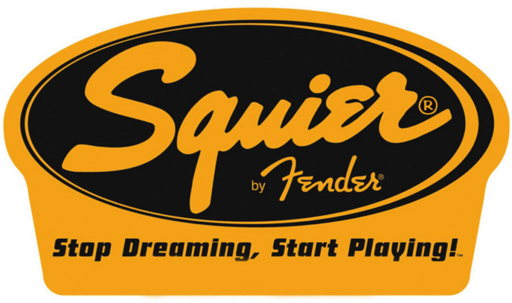 Squier by Fender music products logo.