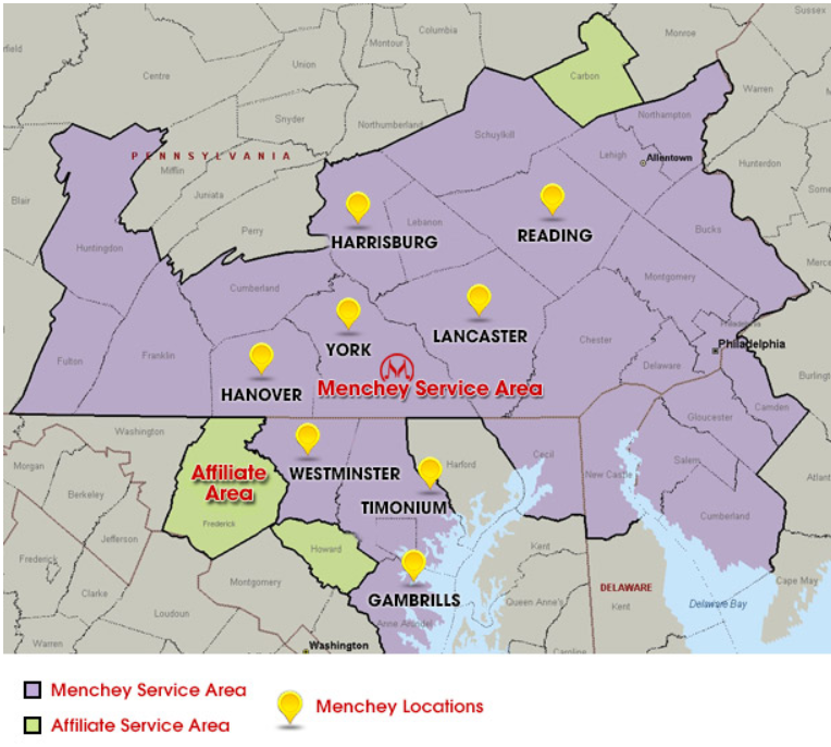 Map showing the areas in Maryland and Pennsylvania that Menchey Music serves.