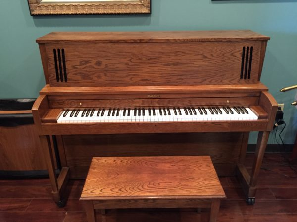 "Baldwin ""Hamilton"" model 243 oak 45″ studio piano (SOLD)"
