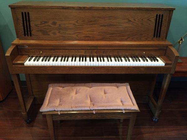"Baldwin ""Hamilton"" model 243 oak 45″ studio piano"