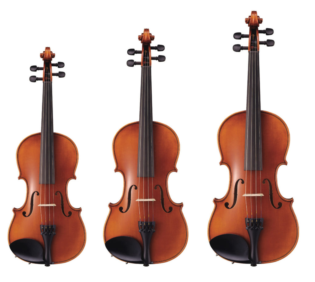 Group of different size string instruments.