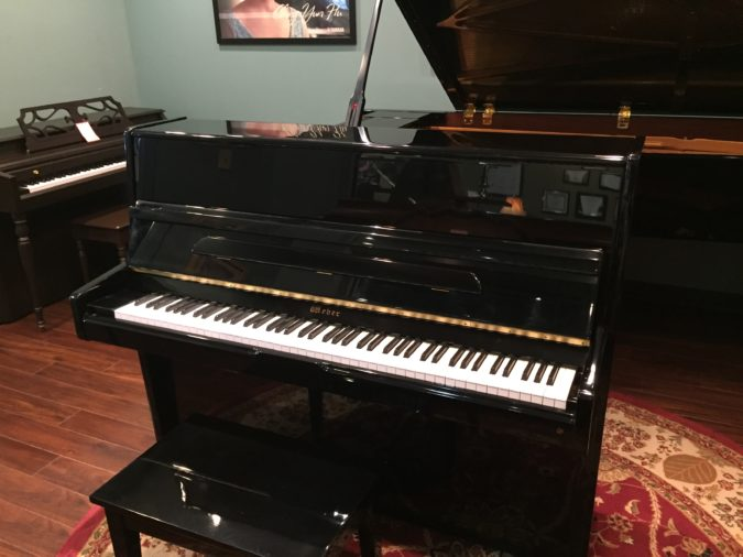 "Weber 46"" upright piano front view."