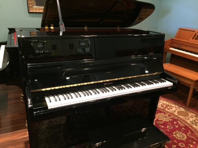 Weber model WC-46 upright piano left front view with bench.