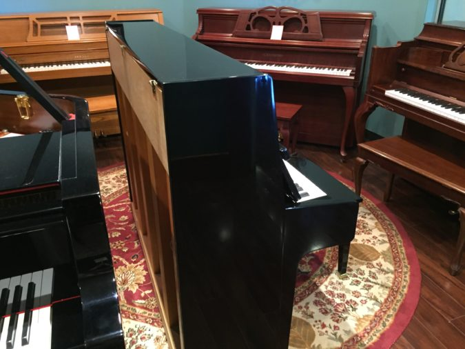 Weber WC-46 upright piano showing left side view and back.