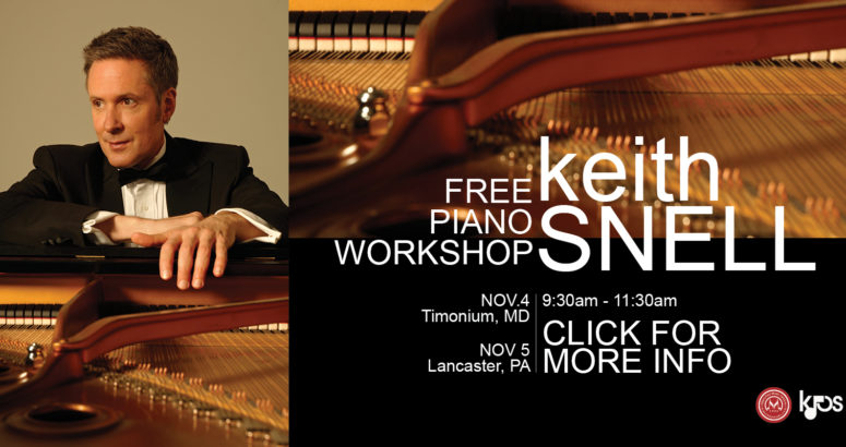 Keith Snell on the left with a piano on the right.