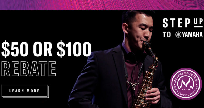 Student playing the saxophone on the right with the 50 or 100 dollar rebate on the left.