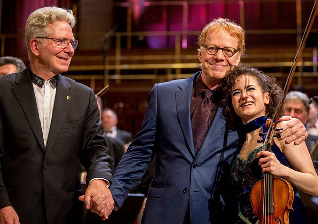 Danny Elfman with co-workers on stage