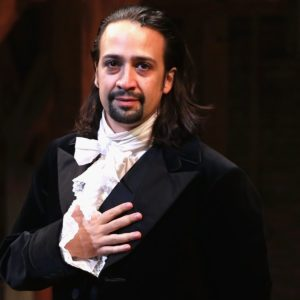 Lin-Manuel Miranda performing as Alexander Hamilton in Hamilton the Musical.
