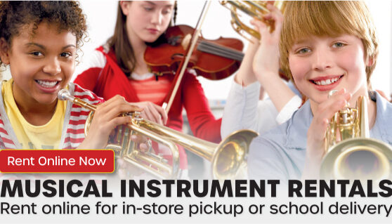Musical instrument rentals for all ages.